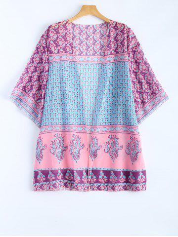 Outfits Collarless Bohemian Printed Beach Cover Up