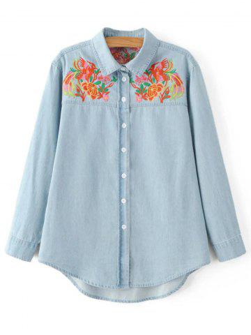 Outfit Oversized Flower Embroidered Yoke Light Denim Cowboy Shirt LIGHT BLUE L