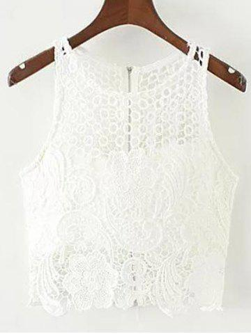 Discount Padded Crochet Crop Top WHITE L
