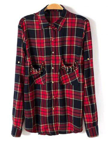 Fashion Studded Pockets Plaid Shirt