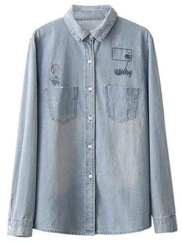 Online Oversized Embroidered Back Light Denim Shirt