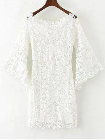 Outfits Floral Crochet Lace Dress with Sleeves