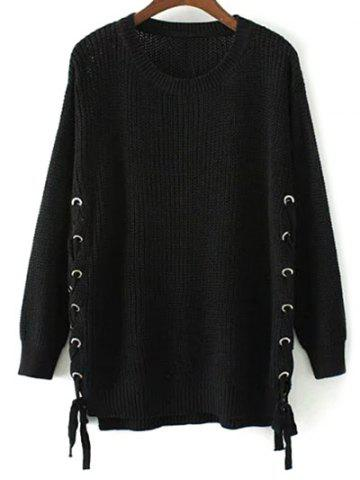 Side Lace Up Open Knit Sweater - Black - M