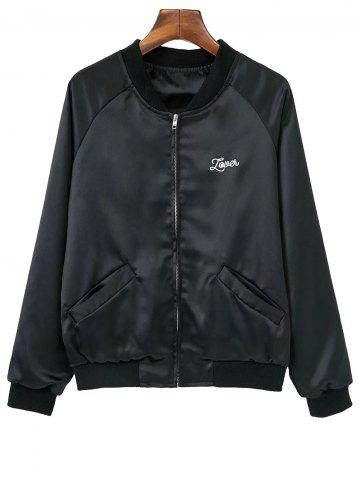 Discount Embroidered Love Heart Satin Bomber Jacket BLACK M