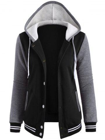 Shop Contrast Sleeve Fleece Baseball Hoodie Jacket BLACK S