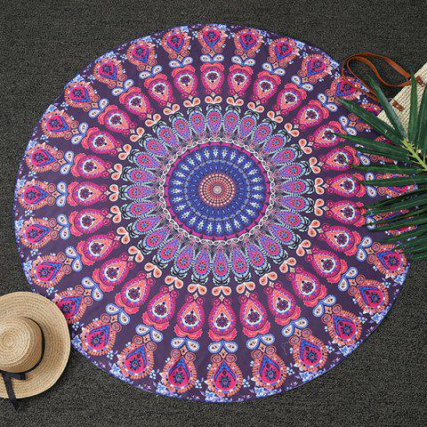 Bohemia Feather Mandala Print Round Beach Throw - Deep Purple - One Size