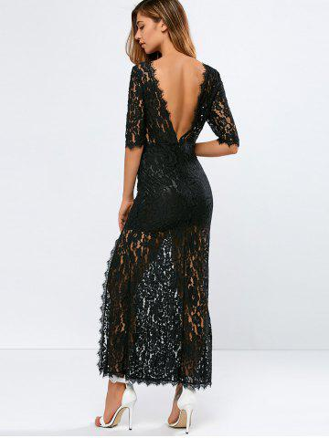 Discount Lace Backless Slit Maxi See Through Evening Dress BLACK 2XL