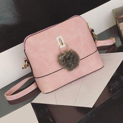 Shops Faux Leather Pom Pom Crossbody Bag - PINK  Mobile