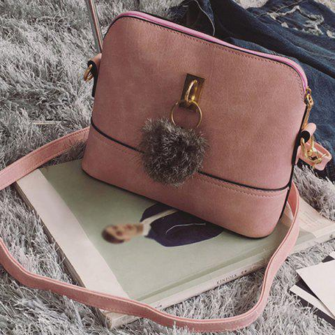 Sale Faux Leather Pom Pom Crossbody Bag - PINK  Mobile