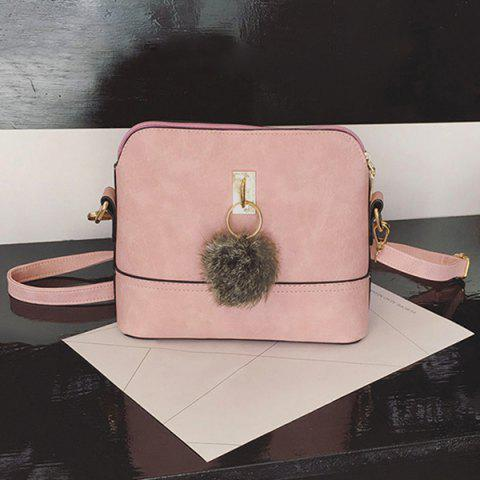 Best Faux Leather Pom Pom Crossbody Bag PINK