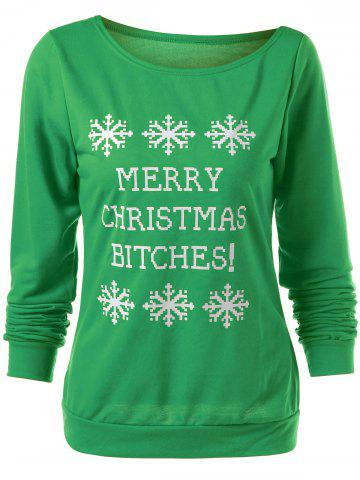 Online Merry Christmas Bitches Graphic Sweatshirt - GREEN L Mobile
