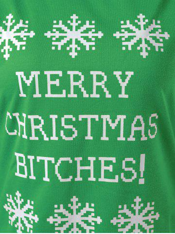 New Merry Christmas Bitches Graphic Sweatshirt - GREEN L Mobile