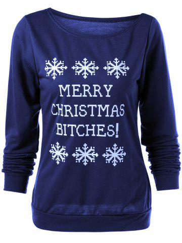 Discount Merry Christmas Bitches Graphic Sweatshirt - DEEP BLUE S Mobile