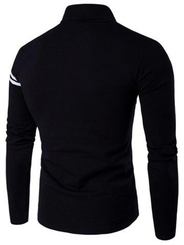 Discount Roll Neck Varsity Stripe Long Sleeve T-Shirt - 4XL BLACK Mobile