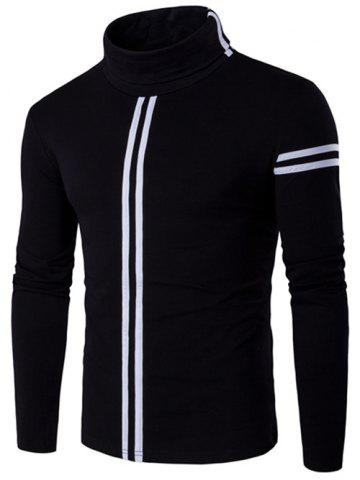 Discount Roll Neck Varsity Stripe Long Sleeve T-Shirt - 3XL BLACK Mobile