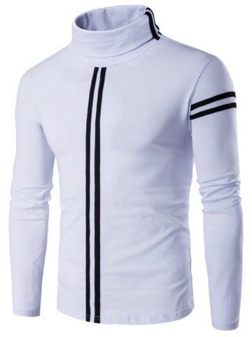 Sale Roll Neck Varsity Stripe Long Sleeve T-Shirt - 5XL WHITE Mobile