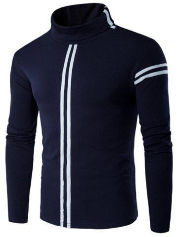 New Roll Neck Varsity Stripe Long Sleeve T-Shirt - 4XL CADETBLUE Mobile