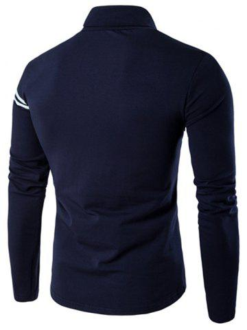 Outfits Roll Neck Varsity Stripe Long Sleeve T-Shirt - M CADETBLUE Mobile