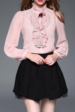 Buy Lace Panel Ruffle Steampunk Blouse with Cami Top PINK M