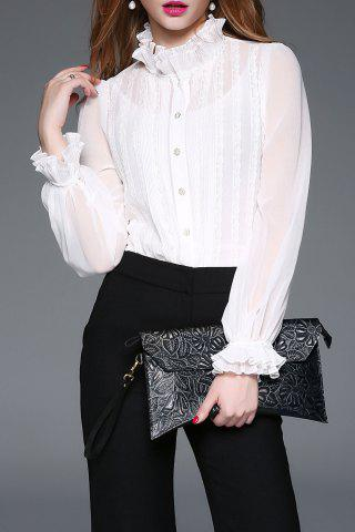 See Thru Lace Insert Ruffle Blouse with Cami Top