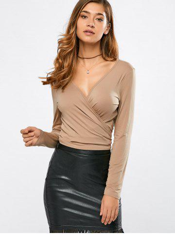 Hot Plunging Neck Wrap Cropped T-Shirt