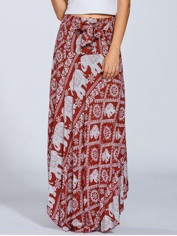 Cheap High Waisted Elephant Print Maxi African Print Skirt - ONE SIZE RED Mobile