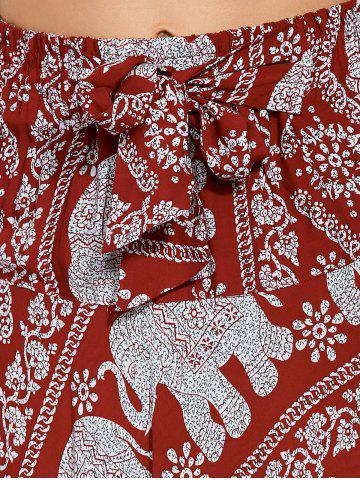 Hot High Waisted Elephant Print Maxi African Print Skirt - ONE SIZE RED Mobile