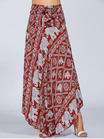 Fashion High Waisted Elephant Print Maxi African Print Skirt - ONE SIZE RED Mobile