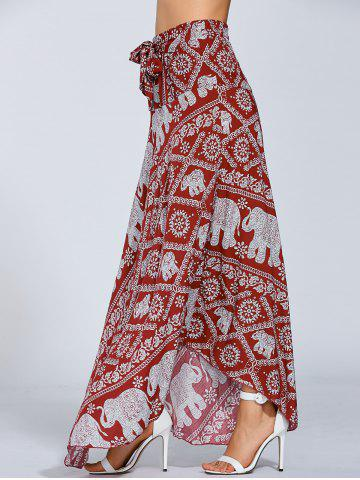 New High Waisted Elephant Print Maxi African Print Skirt - ONE SIZE RED Mobile