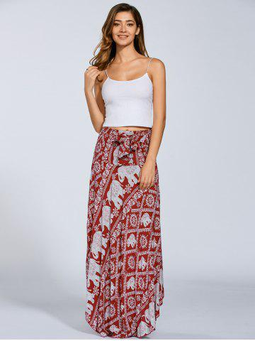 Shop High Waisted Elephant Print Maxi African Print Skirt - ONE SIZE RED Mobile