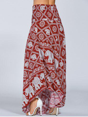 Trendy High Waisted Elephant Print Maxi African Print Skirt - ONE SIZE RED Mobile