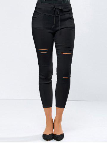 Store Ripped High Waisted Capri Skinny Pants - L BLACK Mobile