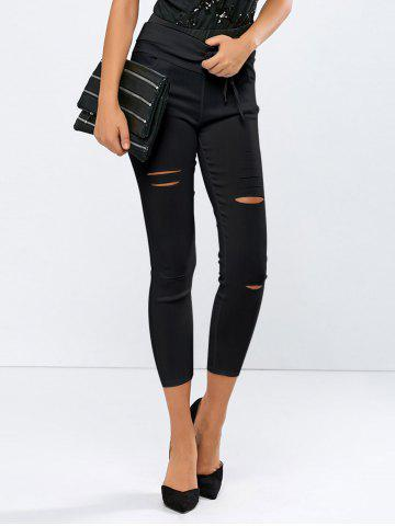 Fancy Ripped High Waisted Capri Skinny Pants - L BLACK Mobile
