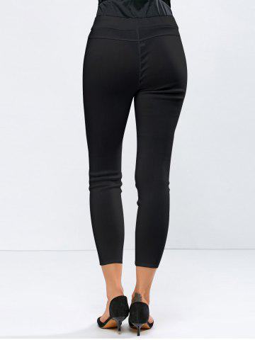 Sale Ripped High Waisted Capri Skinny Pants - L BLACK Mobile