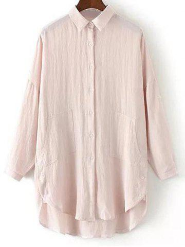 Outfits Linen Blend Buttoned Blouse PINK L