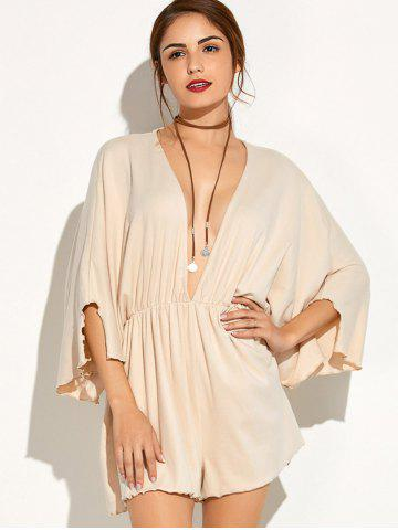 Shop Plunging Neck Batwing Sleeve Romper