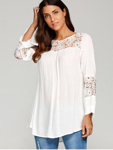 Sale Lace Insert Smock Blouse - XL WHITE Mobile