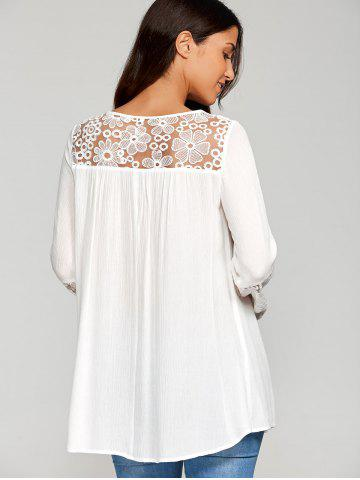 Outfits Lace Insert Smock Blouse - XL WHITE Mobile