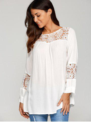 Chic Lace Insert Smock Blouse - XL WHITE Mobile