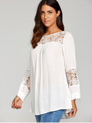 Discount Lace Insert Smock Blouse - XL WHITE Mobile