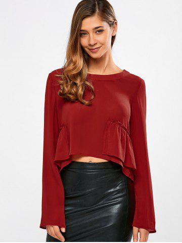 Discount Frilly Peplum Long Sleeve Crop Top RED L