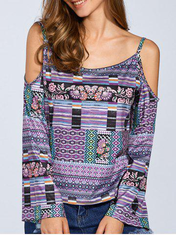 Outfits Long Sleeve Printed Cold Shoulder Top