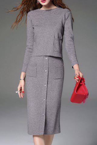 Online Knitted Sweater and Button Front Midi Skirt - S GRAY Mobile