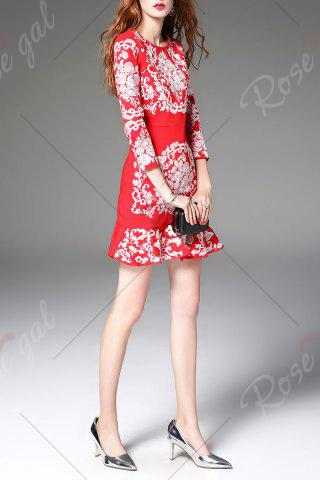 Latest Floral Embroidered Mini Mermaid Dress - L RED Mobile