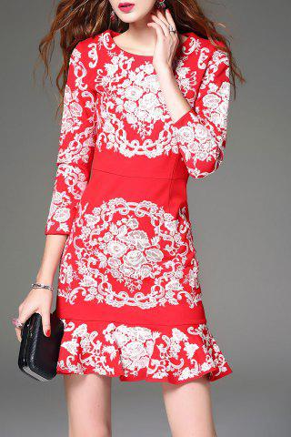 Shop Floral Embroidered Mini Mermaid Dress RED L