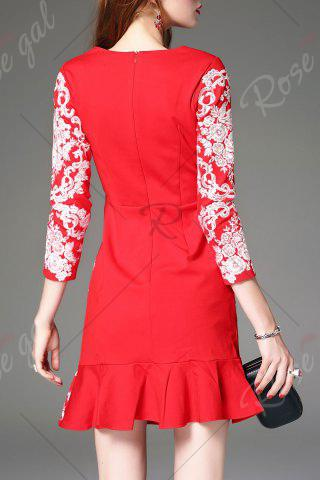 Sale Floral Embroidered Mini Mermaid Dress - L RED Mobile