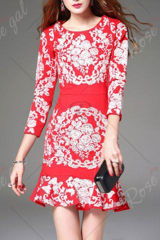 Online Floral Embroidered Mini Mermaid Dress - L RED Mobile