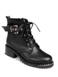 Tie Up Rivets Buckle Strap Ankle Boots - BLACK 39