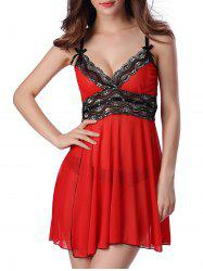 Sequined Spliced Slit Plunge Babydoll With Briefs - RED
