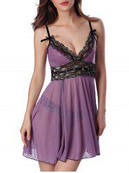 Sequined Spliced Slit Plunge Babydoll With Briefs - PURPLE